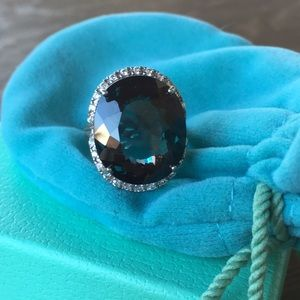 Jewelry - Huge Teal Stone & white sapphire 925 Ring